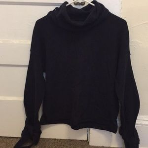 Madewell navy cowlneck sweater w/ ties at sleeves